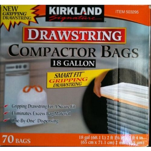 Kirkland Compactor Bags Smart Fit Gripping Drawstring Trash Bags