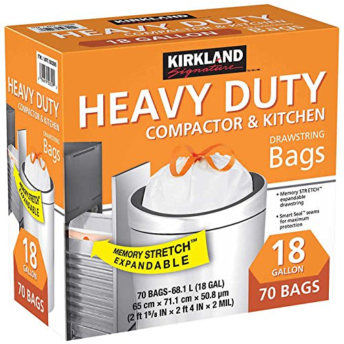 Kirkland Signature Made in USA Heavy Duty Compactor & Kitchen Drawstring Bags