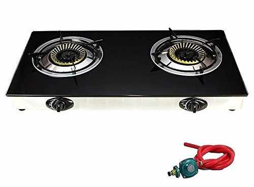 Propane Gas Range Stove Deluxe 2 Burner Tempered Glass Cooktop