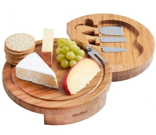 VonShef Round Slide Out Bamboo Wooden Cheese Board and 4 Piece Knife Set