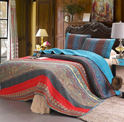 100% Cotton 3-Piece Paisley Boho Quilt Set