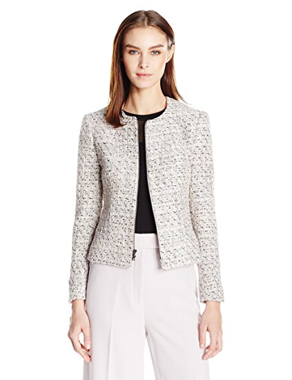 Anne Klein Women's Tweed Zip Front Jacket