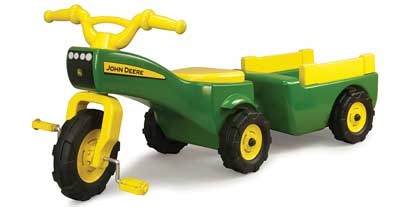 2. John Deere Pedal Tractor and Wagon