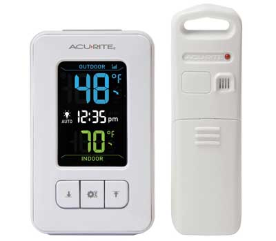 9.AcuRite 02028 Color Digital Thermometer with Indoor/Outdoor Temperature