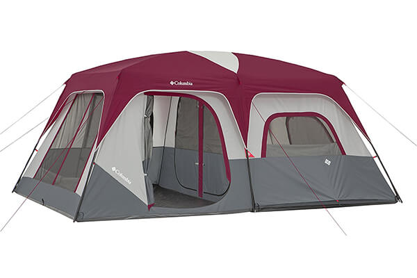 Columbia 10 Person Dome Tent, Red/Grey
