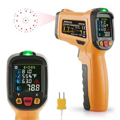 5.Infrared Thermometer Janisa AD6530D Digital Laser Non-Contact IR Temperature Gun -58°F to 1472°F With Color Display K-Type thermocouple for Kitchen Cooking BBQ Automotive and Industrial