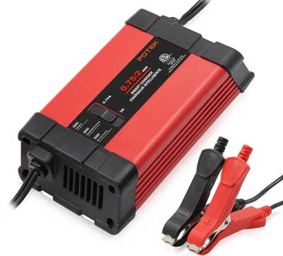2. Potek 0.75/2 Amp Smart Battery Charger Automotive / Maintainer for 12V Lead Acid Batteries