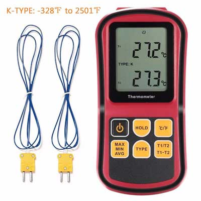 8.Digital Thermometer, Liumy 110V LCD Dual-channel Temperature Controllers, Temperature Meter Tester for K/J/T/E/R/S/N Thermocouple, Celsius and Fahrenheit Accurate to ±0.1%+0.6℃