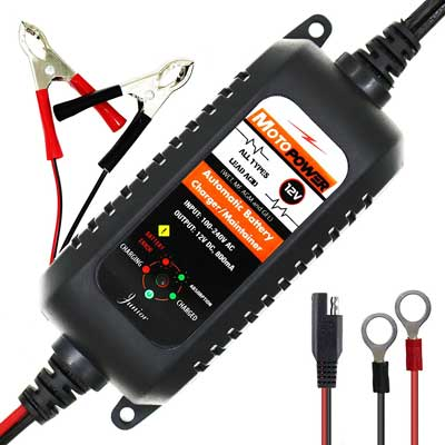 3. MOTOPOWER MP00205A 12V 800mA Fully Automatic Battery Charger