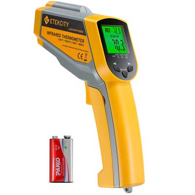 3.Etekcity Lasergrip1030D Infrared Thermometer Digital Dual Laser Temperature Gun Non-contact with Temperature Filtering -58℉~1022℉ (-50℃ ~ 550℃)