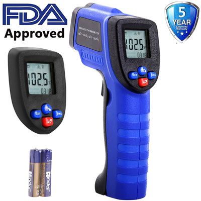 2.Koeson Professional Non-Contact Digital Laser Infrared Thermometer, Top Accuracy Temperature Gun -58℉~ 1022℉ (-50℃ ~ 550℃) with HD Backlit LCD Display, Adjustable Emissivity, Firm Grip/ Blue & Black