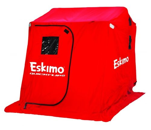 Eskimo QuickFlip 2 Ice Shelter with Versa Top Mounted Chairs