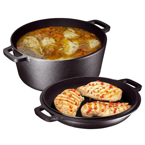 Heavy Duty Pre-Seasoned 2 In 1 Cast Iron Double Dutch Oven