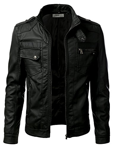 IDARBI Men¡¯s Premium Pu Leather Motorcycle Bomber Jacket