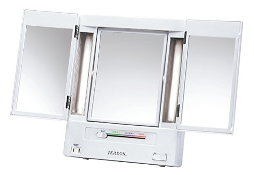 Jerdon Tri-Fold Two-Sided Lighted Makeup Mirror -Lighted Makeup Mirrors