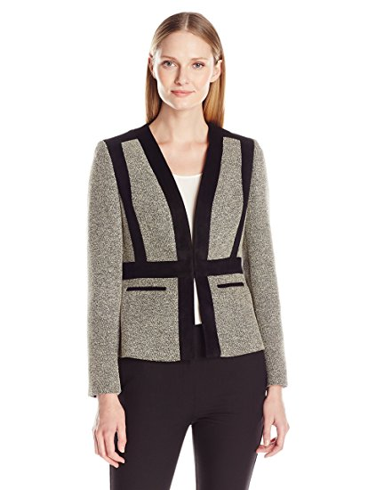 Kasper Women's Tweed Collarless Flyaway Jacket