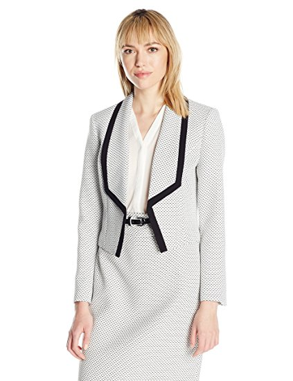 Nine West Women's Tweed Shawl Collar Kiss Front Jacket