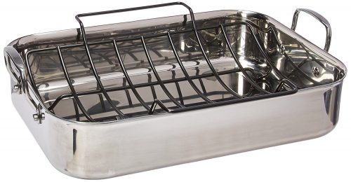 Stainless Steel 17-Inch by 12-1/2-Inch Large Rectangular Roaster
