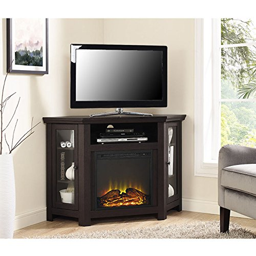 "WE Furniture 48"" Corner TV Stand Fireplace Console"