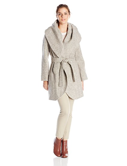 T Tahari Women's Marla Tweed Wrap Coat-Tweed jackets​
