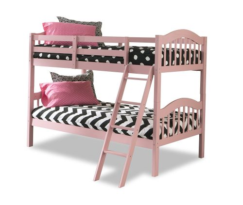 4. Stork Craft Pink Long Horn Twin Bunk Bed