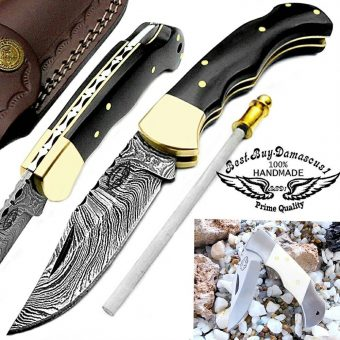 Buffalo-Horn-damascus-pocket-knives