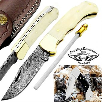 Camel-Bone-damascus-pocket-knives