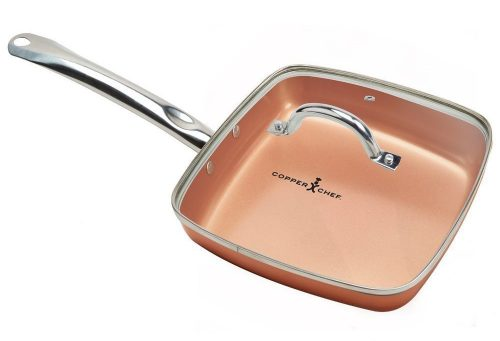"Copper Chef 9.5"" Square Fry Pan with Lid"