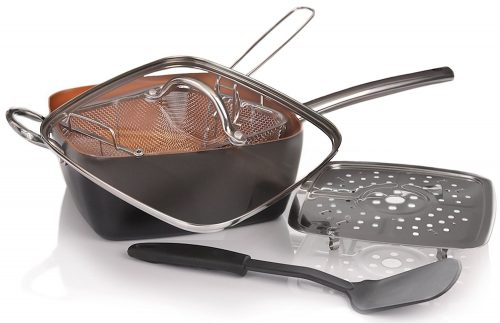 Copper Pan 5 piece Cookware Set-Deep Square Pans