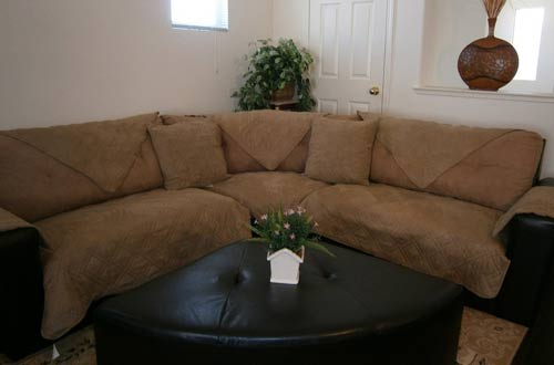 "Quilted 35x82"" Peat Bonded or Classic Micro Suede Sectional Sofa Cover Pad"