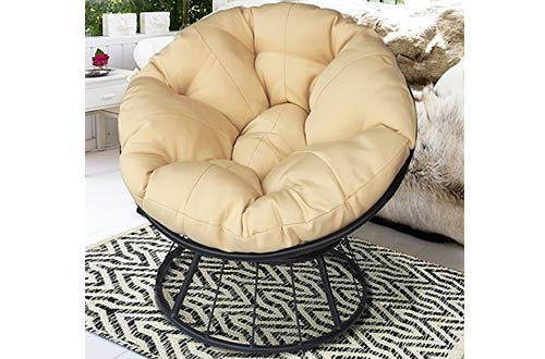 Deluxe 360 Swivel Papasan Chair with Soft Cushion,