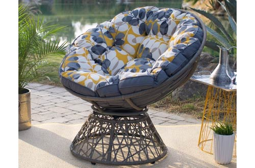 Kambree Outdoor Gray Papasan Chair with Reversible Cushion