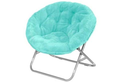 Mainstays Faux-Fur Saucer Chair, Aqua Wind