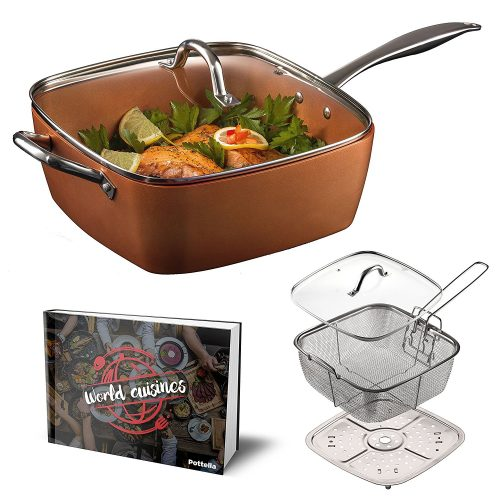 "Pottella Deep Square 9.5"" Nonstick Copper Pan"
