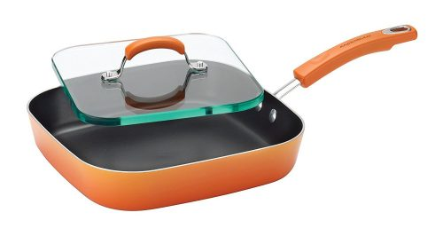 Rachael Ray Porcelain Enamel II Nonstick Square Deep Griddle and Glass Press