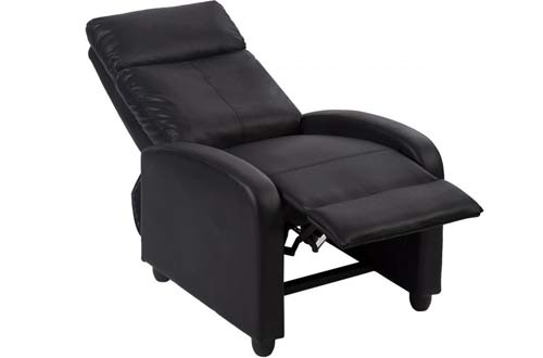 New Black Modern Leather Chaise Couch Single Recliner Chair Sofa