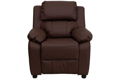 Flash Furniture Deluxe Padded Contemporary Brown Leather Kids Recliner
