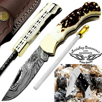 Stag-Horn-damascus-pocket-knives