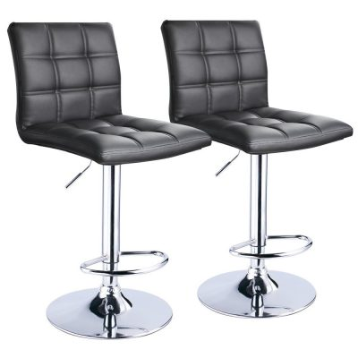 10. Leopard Modern Square PU Leather Bar Stool (Set of 2)