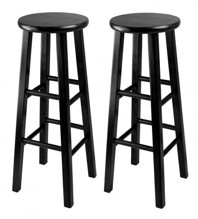 1. Winsome Black 29-Inch Square Leg Bar Stool (Set of 2)