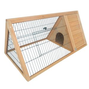 2. Pawhut Outdoor Triangular Bunny Rabbit Hutch/Guinea Pig House, Wooden