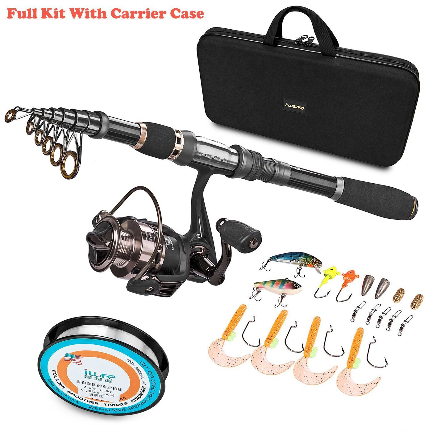 6. PLUSINNO Telescopic Fishing Rod and Reel Combos