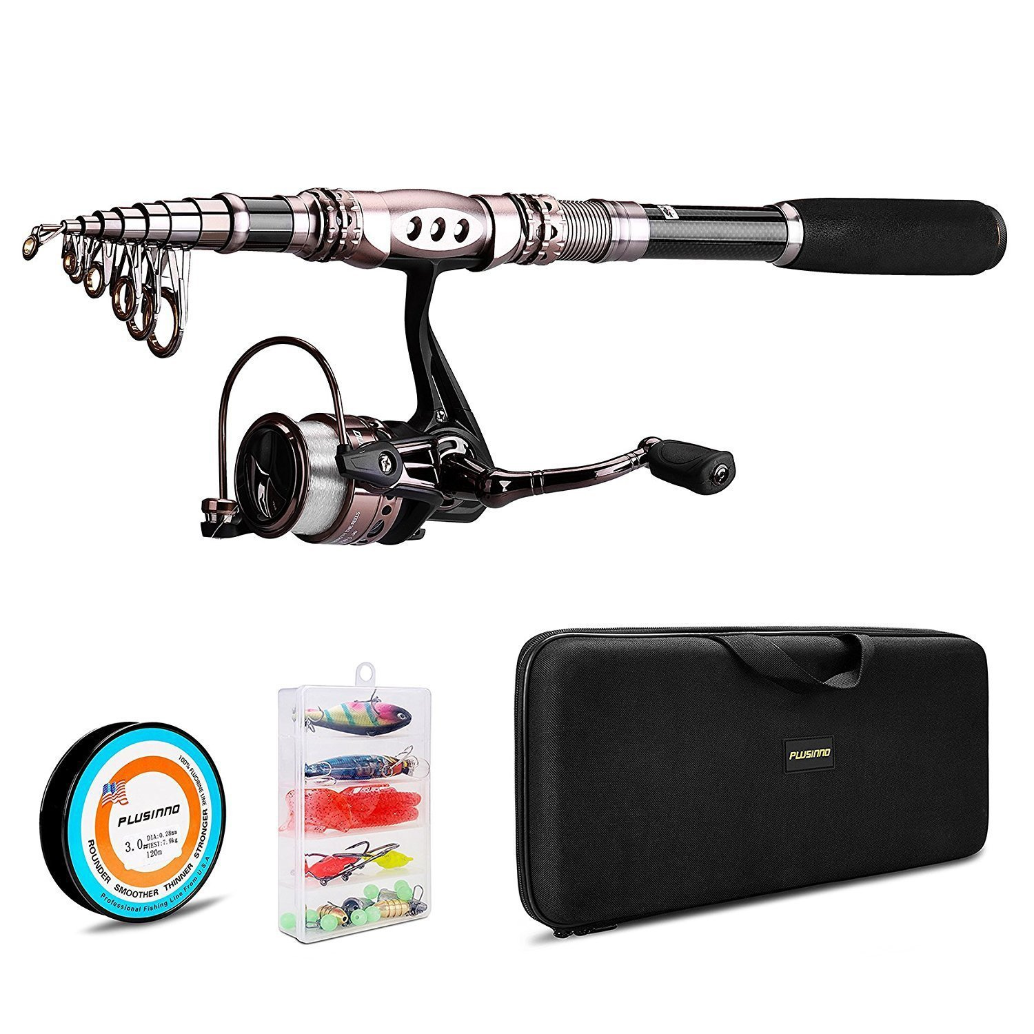 7. PLUSINNO Spinning Rod and Reel Combos