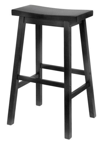 8. Winsome Black 29-Inch Saddle Seat Bar Stool