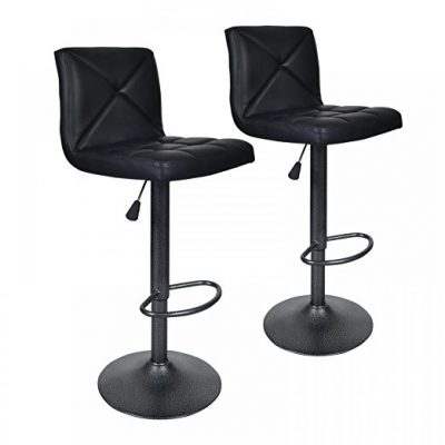 3. BestOffice Black 2 PU Leather Modern Barstools - Best Bar Stools
