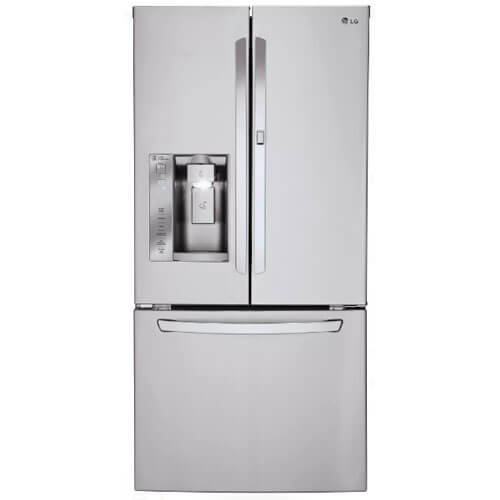 10. LG LFXS24663S French Door Refrigerator with 24 Cu. Ft. Capacity in Stainless Steel