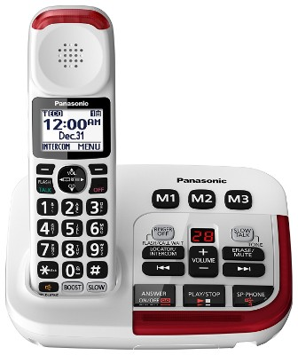 Panasonic KX-TGM420W Amplified Phone with Answering Machine, White