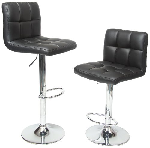 Roundhill furniture black Boned Leather Bar stools