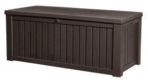 4. Keter Rickwood Plastic Deck Storage Container Box Outdoor Patio Garden Furniture 150 Gal, Brown
