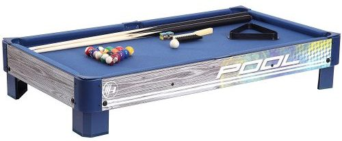 Harvil Tabletop Pool Table with L-style Legs. Includes 2-Pieces 36-Inch Pool Cues, 1 Set of Billi